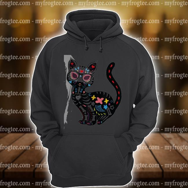 Cute sugar skull mexican cat halloween s hoodie