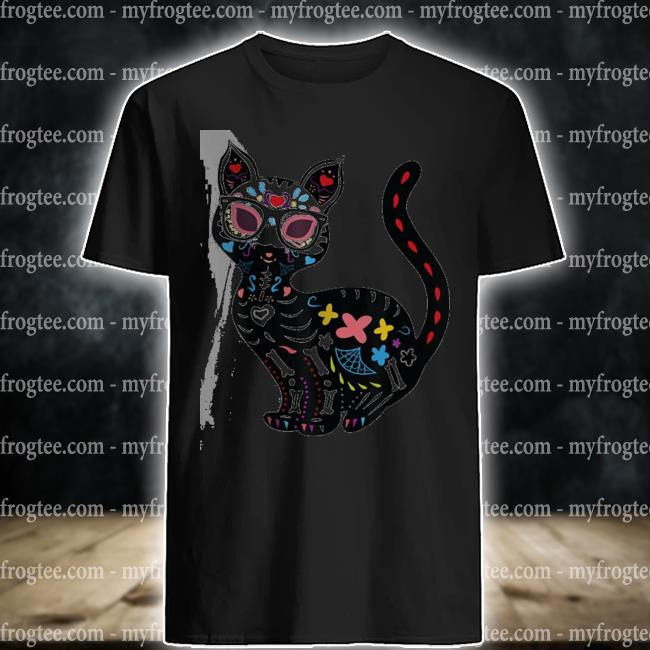 Cute sugar skull mexican cat halloween shirt