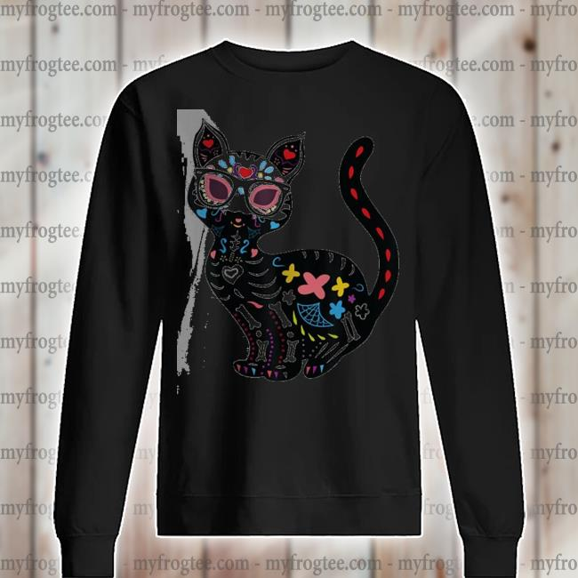 Cute sugar skull mexican cat halloween s sweater