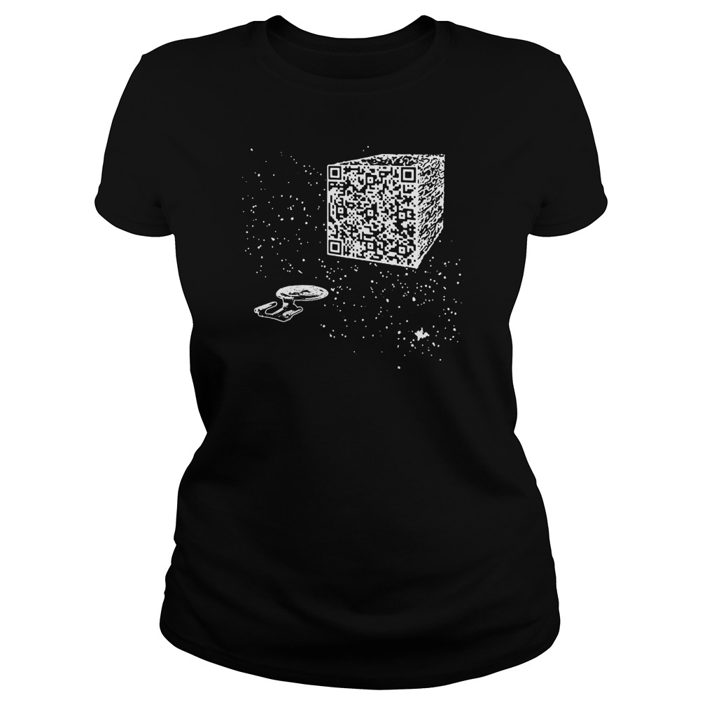 We are the borg Resistance is Futile space qr code ladies tee