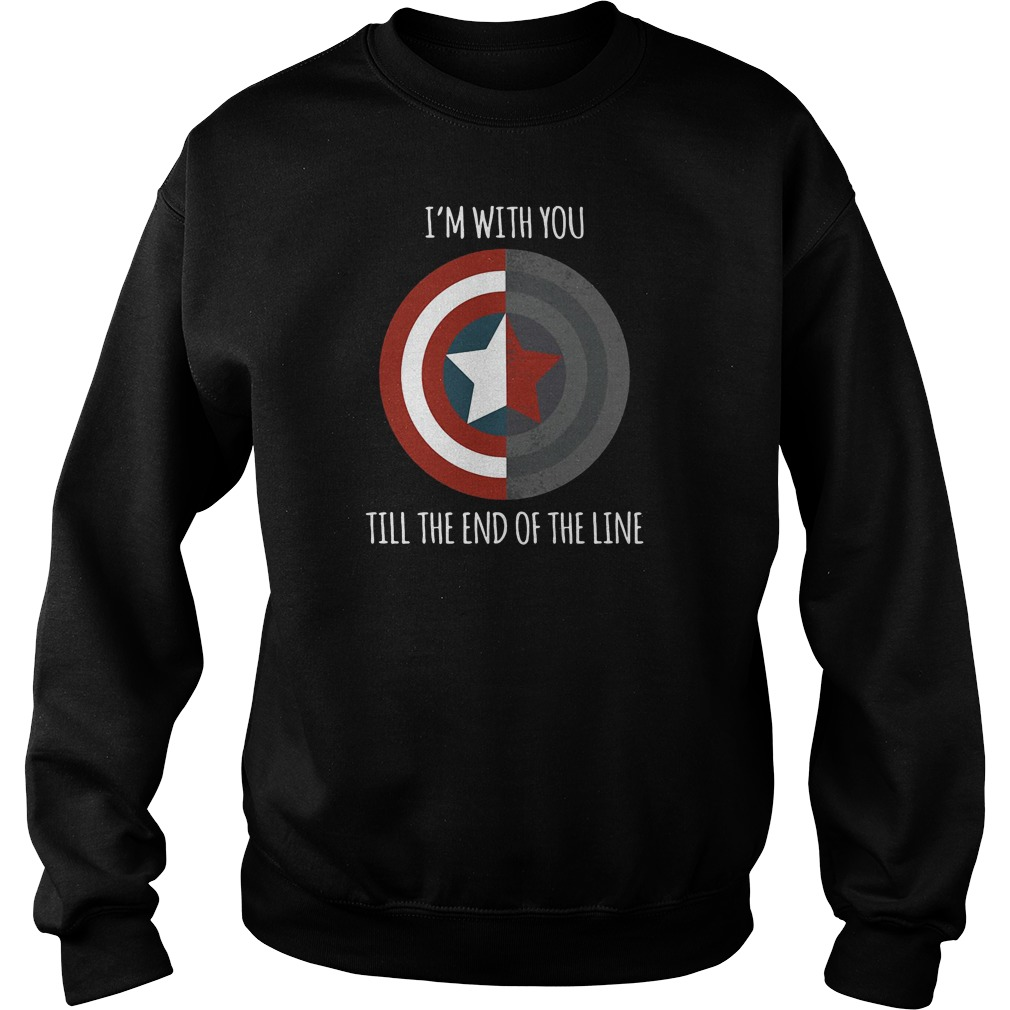 I'm with you till the end of the line Captain America shield sweater